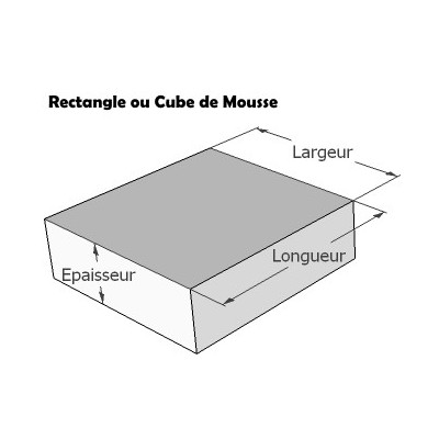 Carré ou Rectangle de mousse sur mesure